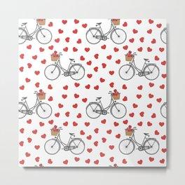 Vintage bicycles and love hearts Metal Print