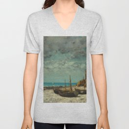 "Gustave Courbet ""Boats on a Beach, Etretat"" Unisex V-Neck"