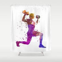 fitness Shower Curtains featuring Man exercising weight training workout fitness by Paulrommer