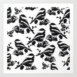 Chickadee Pattern Art Print