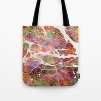 stockholm Tote Bags featuring Stockholm by MapMapMaps.Watercolors
