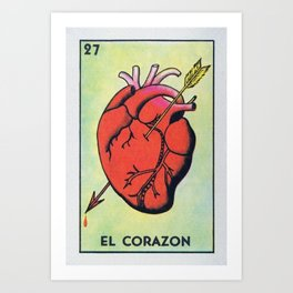 Vintage El Corazon Tarot Card Heart Love Artwork, Design For Prints, Posters, Bags, Tshirts, Men, Wo Art Print
