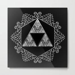 Triforce Aztec White Pattern Metal Print