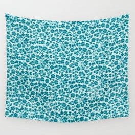 Turquoise Vintage Flowers Wall Tapestry