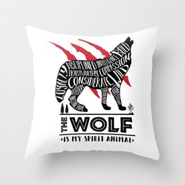 Spirit Animals: The Wolf Throw Pillow