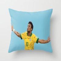 neymar Throw Pillows featuring Neymar by Aaron Cushley