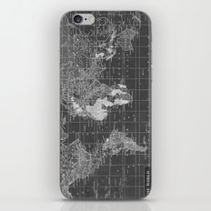 Black and White Vintage World Map iPhone Skin
