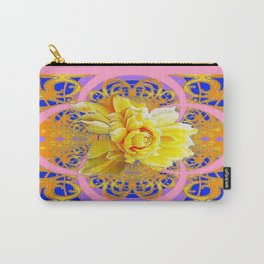 Decorative Yellow Roses in Blue & Coral Colors Geometric Abstract Carry-All Pouch