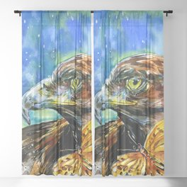 Golden Eagle And Butterfly by Kathy Morton Stanion Sheer Curtain