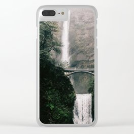 Multnomah Falls Waterfall in October - Landscape Photography Clear iPhone Case