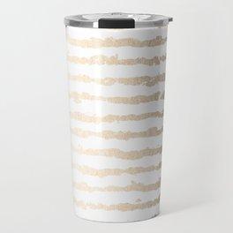 White Gold Sands Ink Stripes Travel Mug