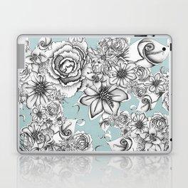 B&W Flowers Blue Laptop & iPad Skin
