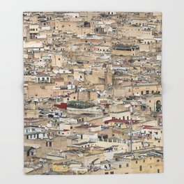 Skyline Roofs of Fes Marocco Throw Blanket