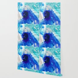 Modern Abstract Art - Blue Marble by Sharon Cummings Wallpaper