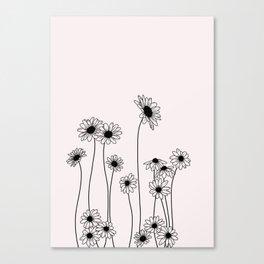 Daisy flowers illustration - Natural Canvas Print