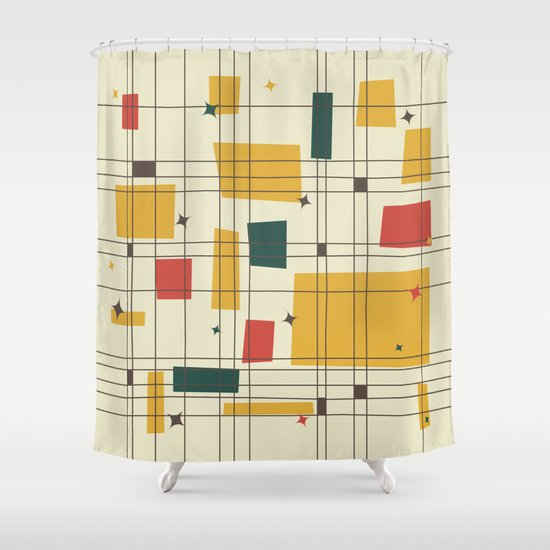 Mid-Century Modern (gold) Shower Curtain - Mid-century Shower Curtains Society6
