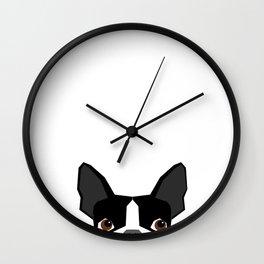Boston Terrier head peeking cute dog gifts funny must haves boston terriers Wall Clock