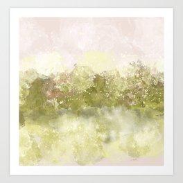 Choppy Soft Pink and Deep Yellow Ocean Water Art Print