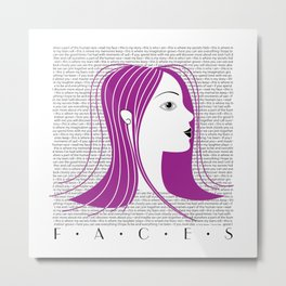 Faces • Girl with purple hair Metal Print