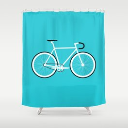 Turquoise Fixed Gear Road Bike Shower Curtain