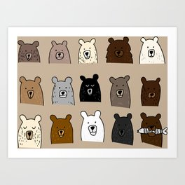 Bear Portraits on Brown Art Print