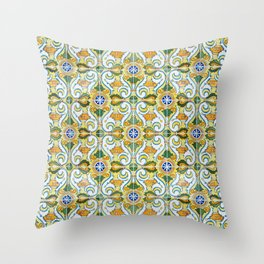 Seamless Floral Pattern Ornamental Tile Design : 9 yellow, green Throw Pillow