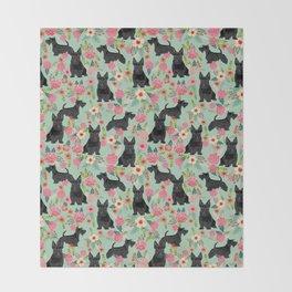 Scottish Terrier florals pattern dog breed dog art pet portraits pet friendly scottie gifts Throw Blanket