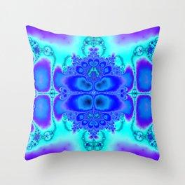 """Electric Purplescape"" Trippy Fractal Art Throw Pillow"