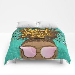 Black Girl Magic Teal Comforters