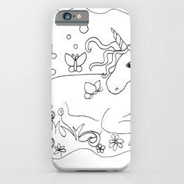 Unicorn and Butterflies Line Art  iPhone Case