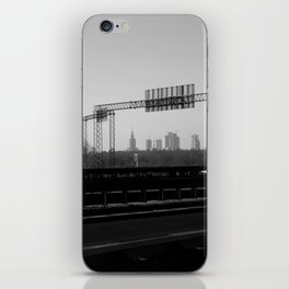 riverside cityscape, city skyline, driving in warsaw view iPhone Skin