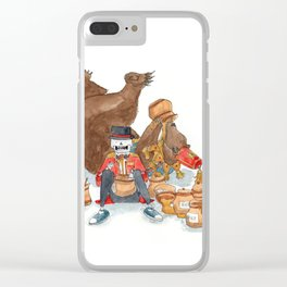 Circus bear feasting on honey with skeleton friend Clear iPhone Case