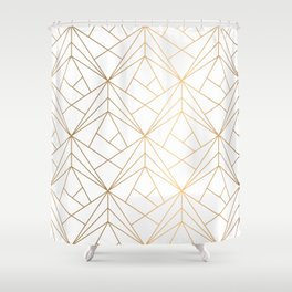 Geometric Gold Pattern With White Shimmer Shower Curtain