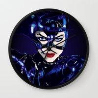 catwoman Wall Clocks featuring Catwoman  by Jordi Hayman Design