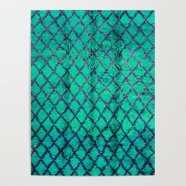 -A4- Stylish Green Traditional Moroccan Carpet Texture. Poster