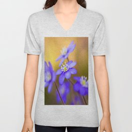 Spring Wildflowers, Beautiful Hepatica in the forest on a sunny and colorful background Unisex V-Neck