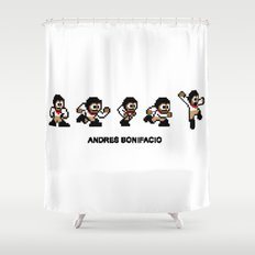 8-bit Andres 5 pose v1 Shower Curtain