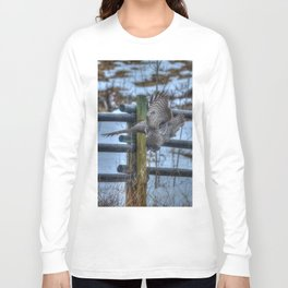 Dive, Dive, Dive! - Great Grey Owl Hunting Long Sleeve T-shirt