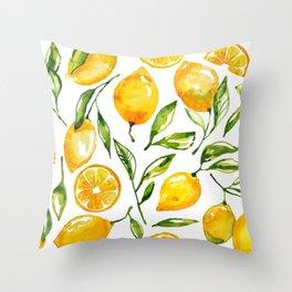 lemon watercolor Throw Pillow