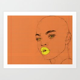 Yellow Lips Art Print