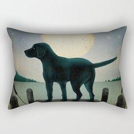 Black Dog Labrador Lake Dock Moon Cottage Cabin Rectangular Pillow
