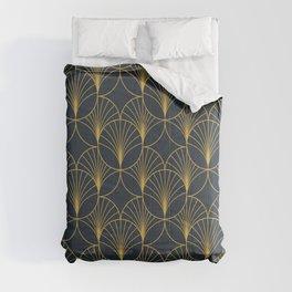 Golden Art Deco Moon Rays Comforters