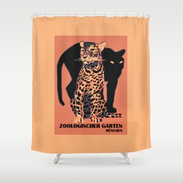 Retro vintage Munich Zoo big cats Shower Curtain