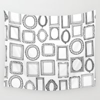 frames Wall Tapestries featuring picture frames mono by Sharon Turner