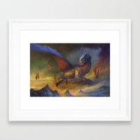 dragons Framed Art Prints featuring Dragons by Oscar el bardo