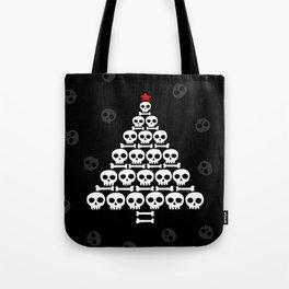 White Skulls and Bones Christmas Tree Tote Bag