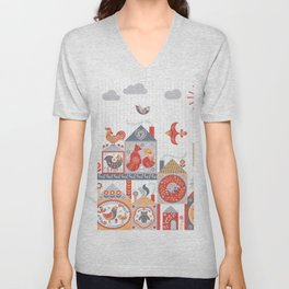 Small fairy-tale houses with cute animals and birds. Unisex V-Neck