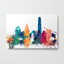 Austin Watercolor Skyline Metal Print
