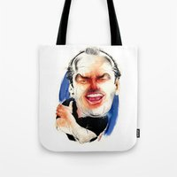 jack nicholson Tote Bags featuring Jack Nicholson by drawgood