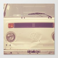 volkswagon Canvas Prints featuring WV Combi Bus Volkswagon Vintage Car (Retro Cream an Violet Van)  by Caroline Mint